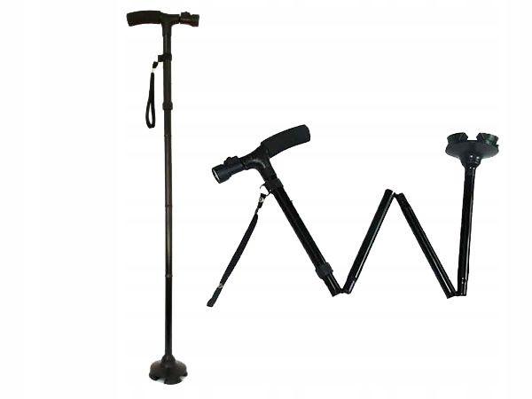 Laska inwalidzka do chodzenia, składana, z latarką