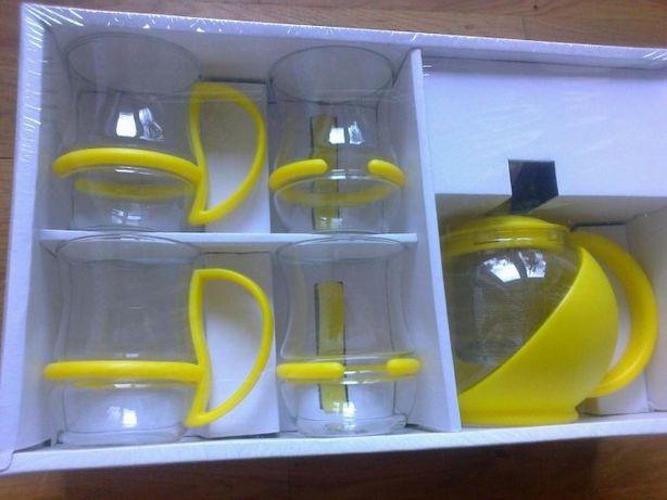 Komplet nowy 4 szklanek oraz czajniczka żółty