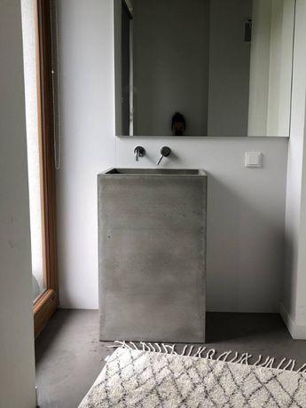 Betonowa umywalka wolnostojąca