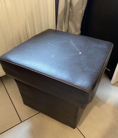 Pufa kufer otwierana, do przechowywania na kółkach ciemny brąz