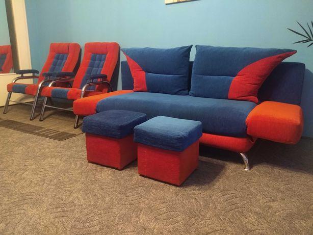 Komplet wypoczynkowy kanapa fotele pufy młodzieżowy fotel puf