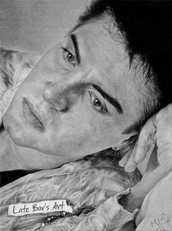 Портрет Саймона Ле Бона (Simon Le Bon, Duran Duran). Простой карандаш.
