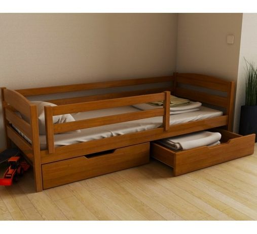 Кровать Хьюго бук 80х160 с ящиками и передним бортиком