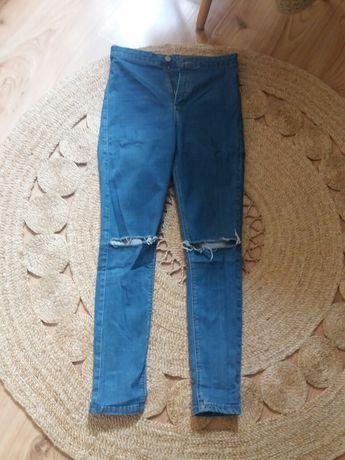 Topshop spodnie jeans  niebieskie rurki wysoki stan dziury M