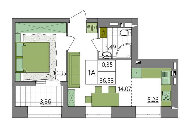 Однокімнатна квартира на 6 поверсі