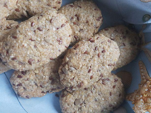 Zdrowe ciastka owsiane bez białego cukru z nasionami