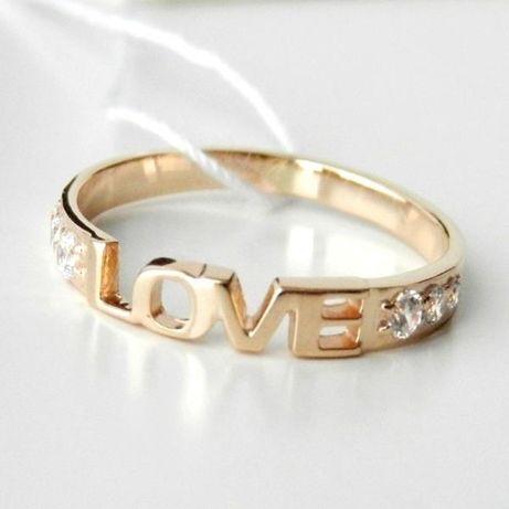 Золотое Кольцо LOVE 585 пробы ! Размеры от 15.5 до 18,5