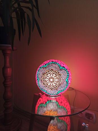 Nowa, Duża orientalna lampka mozaikowa - rękodzieło, boho