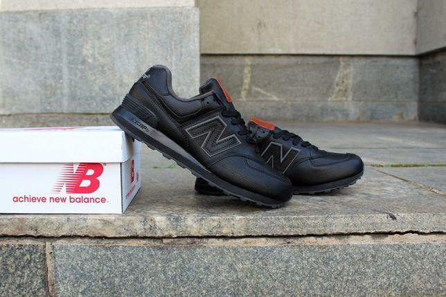 (619) Кроссовки New Balance 574 (43,44,46) - Осень, кожаные, черные