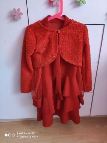 Śliczny czerwony komplet bolerko+sukienka tiul 128