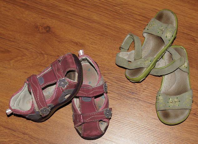 Sandały sandałki zielone różowe sportowe skóra 23 24 15cm