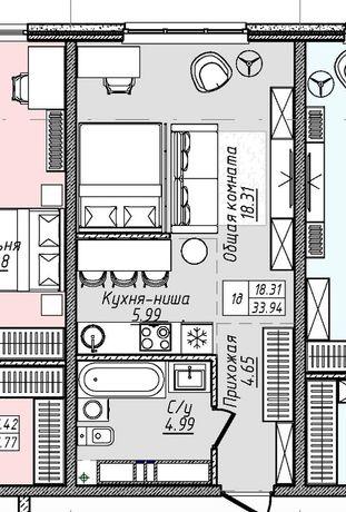Продам квартиру студийного типа на 2 фонтана за 27000