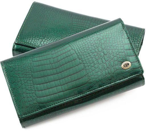 Женский кожаный лакированный кошелек под и карточки ST цвет синий.