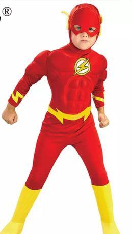 Костюм Супергероя DC Флеш,ростовка на рост от 100 до135см, маска, пояс