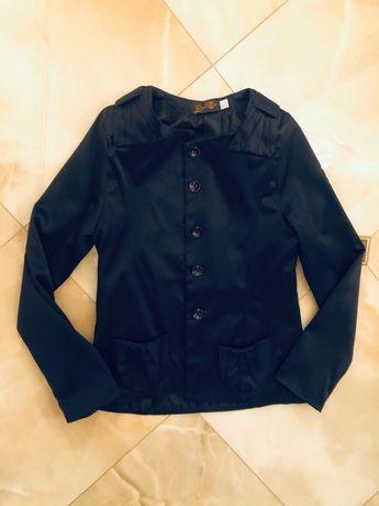 Синий атласный пиджак для девочки,рост 146