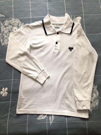 Белая рубашка-поло с длинным рукавом, р. 140
