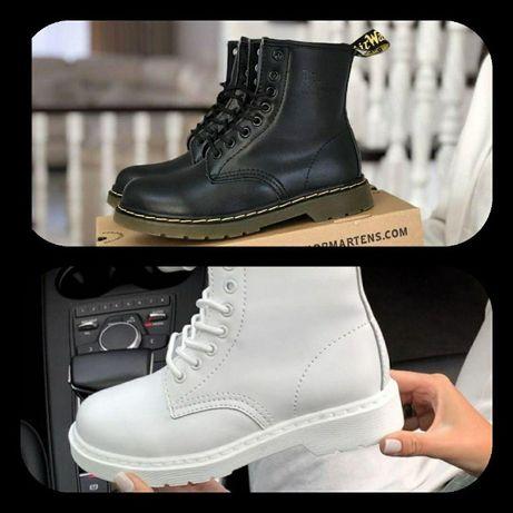 Удобные ботинки DR. MARTENS 1460 BLACK WHITE ∎ белые ∎ чёрные Мех