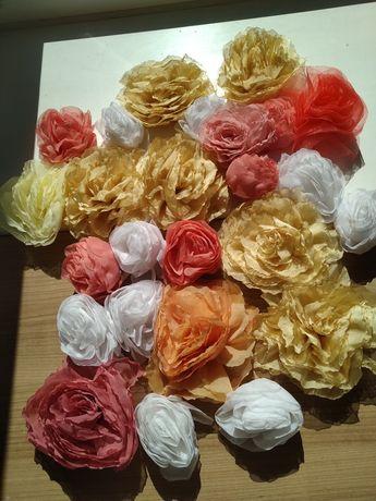 Розы из шифона 25штук за 100грн.