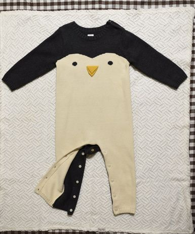 GAP ромпер вязаный пингвин 18-24 мес теплый свитер комбинезон