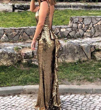 Vestido cerimonia casamento gala reveillon lantejoulas douradas