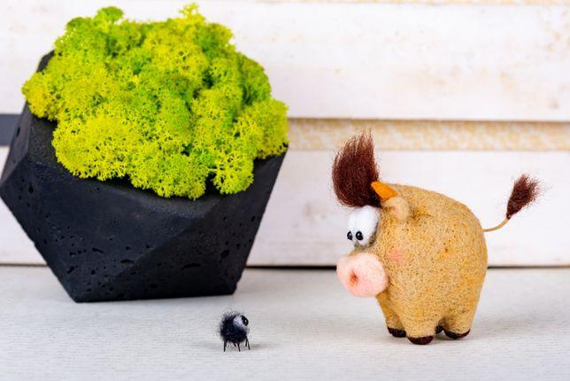 Бычок и Паучок символ 2021 года Игрушка из Шерсти Интерьерные игрушки