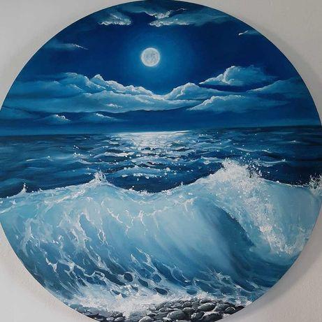 Obraz olejny, okrągły, księżycowa noc, do sypialni