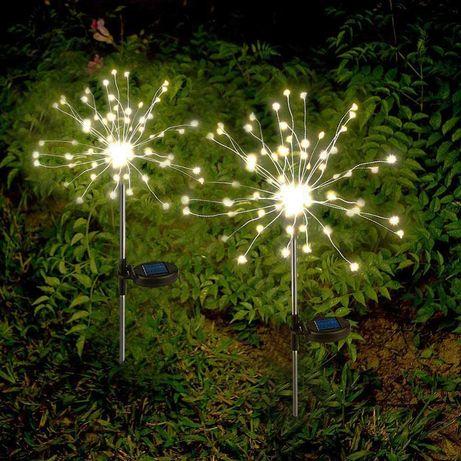 Lampa Solarna Ogrodowa Dmuchawiec BIAŁY LED Zestaw 2 sztuk