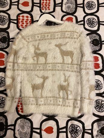 Новогодний зимний свитер травка