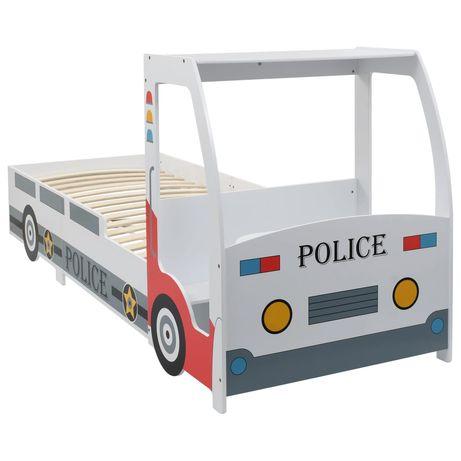 vidaXL Cama carro da policia para crianças com secretária 90x200 cm 244012
