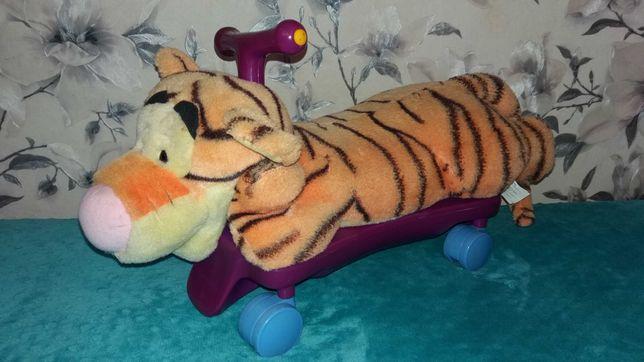 Каталка,толокар,скейт,Тигр,музыкальный,озвученый,Мягкая игрушка