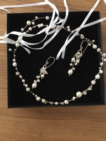 Biżuteria ślubna biała, ecru komplet kolczyki i opaska