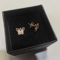 złote kolczyki z cyrkoniami - motylki , lombard madej sc