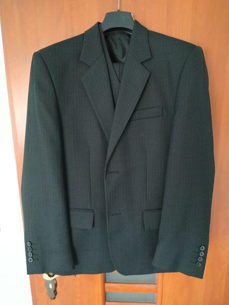 Garnitur męski czarny na wzrost 165 stan idealny ubrany raz