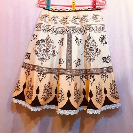 Spódnica letnia midi Vanila bawełna koronka podszewka szeroki dół 36