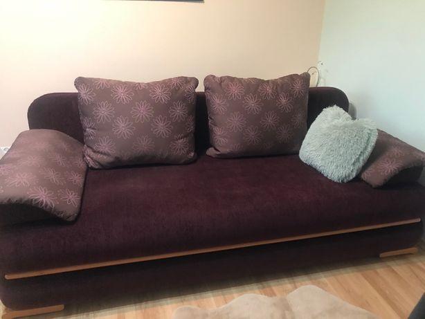 Sofa rozkładana ciemnofioletowa