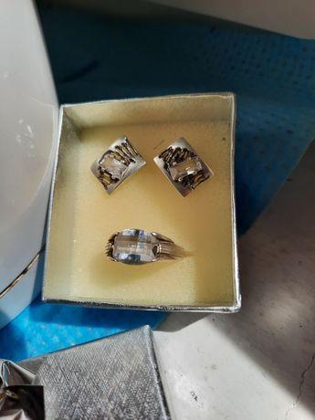 Komplet srebny pierscionek i kolczyki
