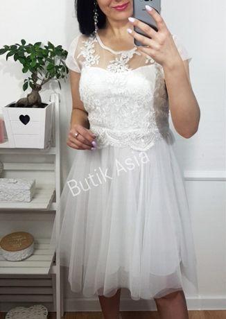 SUKIENKA biała koronkowa tiulowa 36/38 S/M ślubna suknia,poprawiny