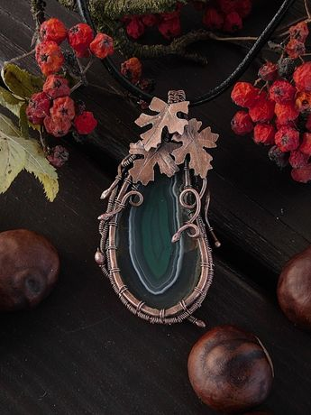 Wisiorek, liście, wire wrapping, miedź, agat