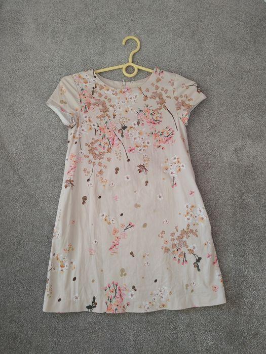 Sukienka wizytowa Zara kwiaty 134 140 elegancka kremowa beżowa wiosna Ełk - image 1