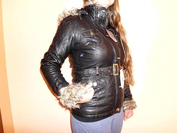 Nowa czarna kurtka, na wiosnę/jesień, ekoskóra, futerko, rozmiary