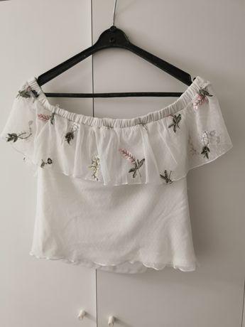 Bluzka biała top crop hiszpanka nowa H&M 40 L