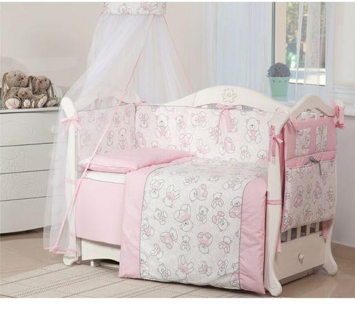 Постельный комплект 8 эл Twins Мишки, бортики, защита в кроватку