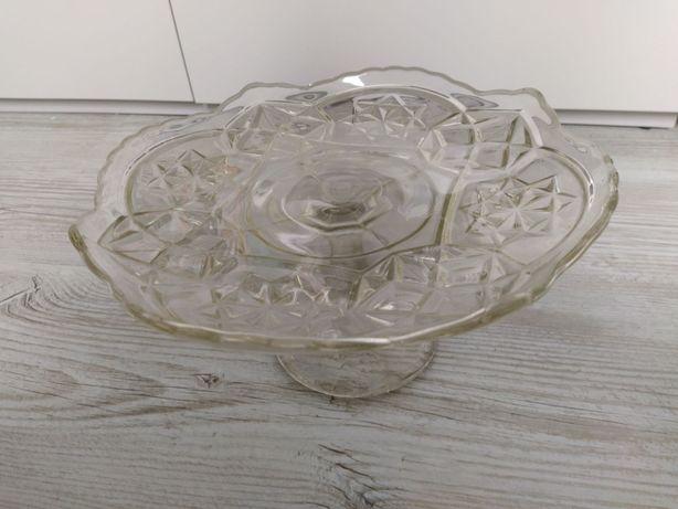 Patera ozdobna z grubego szkła PRL