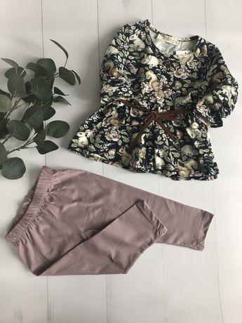Uroczy komplet dziewczęcy bluzeczka tunika leginsy r. 92 - 110 bawełna