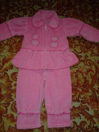 Теплый флисовый костюм для девочки до годика