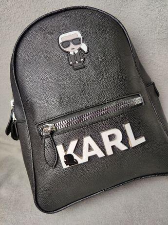 Plecak skórzany Karl Lagerfield skóra torba Bialy Napis HIT Premium