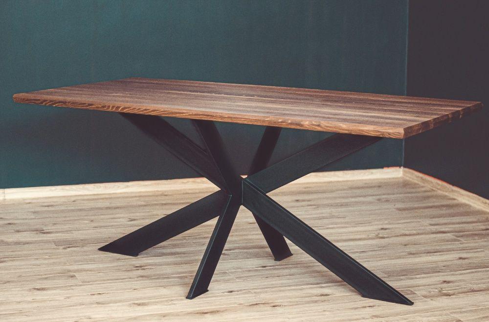 Stół Loft - blat lite drewno akacjowe ciemne Meble loftowe Siekierki Wielkie - image 1
