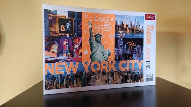 Puzzle 1000 Trefl   kompletne   New York   Neon color line