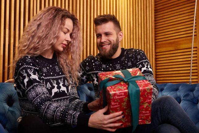 Новогодние свитера для двоих, парные, с оленями, качественные