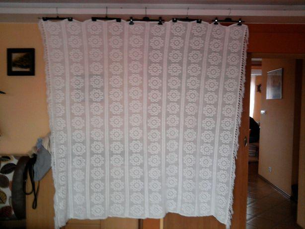 Rękodzieło ! Biała , szydełkowa narzuta z bawełny - 190 cm x 200cm !